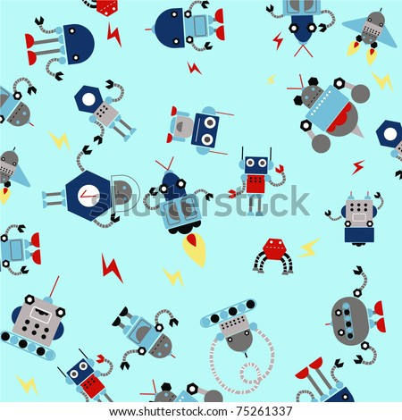 pattern for kids with robots. - stock vector