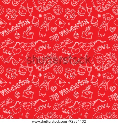 Pattern for st. Valentine's day. On red background.