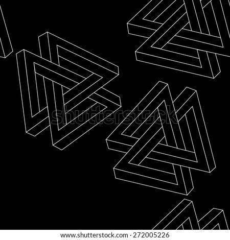 Pattern geometric seamless simple monochrome minimalistic pattern of impossible shapes, triangles - stock vector