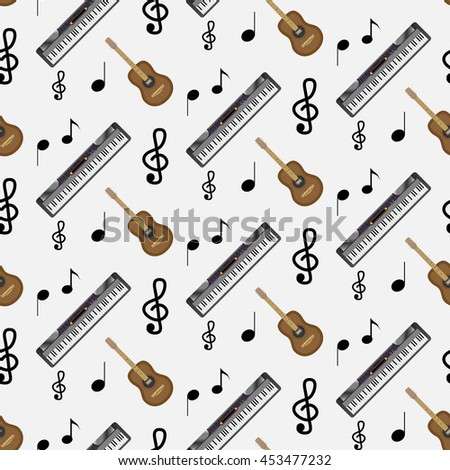 Pattern guitar synthesizer and notes. Instrumental artistic pattern with note music, vector illustration - stock vector