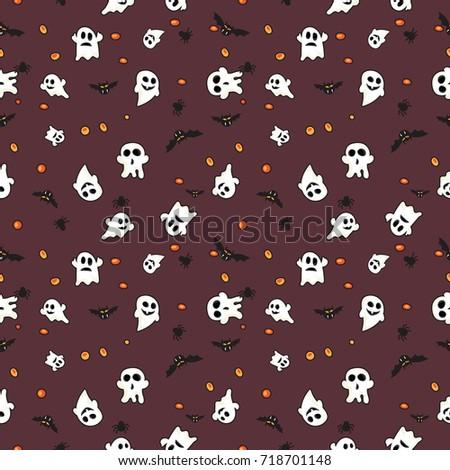 Pattern Halloween Bats Halloween Ghost Hallowen Stock Vector HD ...
