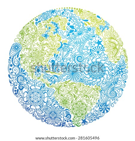 Pattern in a shape of our Planet.  - stock vector