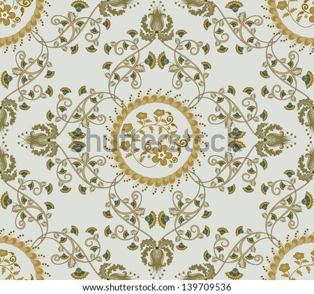 pattern in gray and beige tones with carnations and bells decorated circle - stock vector
