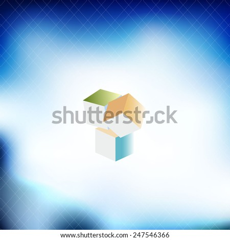 pattern in the style of diffuse clouds and cubes in the center. - stock vector