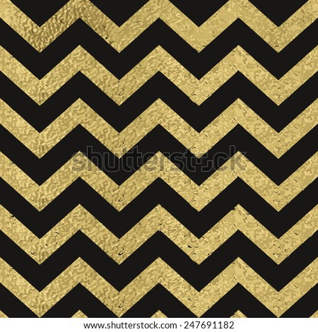 Pattern in zigzag on black background. Classic chevron seamless gold glitter pattern. - stock vector