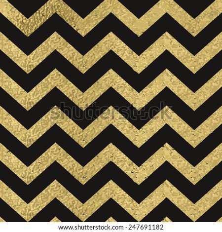 Pattern In Zigzag On Black Background Classic Chevron Seamless Gold Glitter