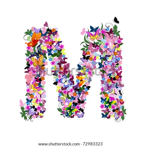 Pattern letter of butterflies and flowers - stock vector