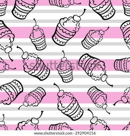 Pattern made from hand drawn ice cream and colored stripes on the white background. - stock vector