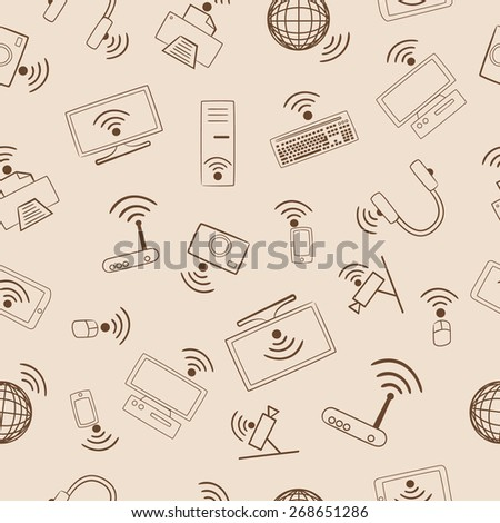 Pattern multimedia devices Wi Fi. Seamless pattern. - stock vector