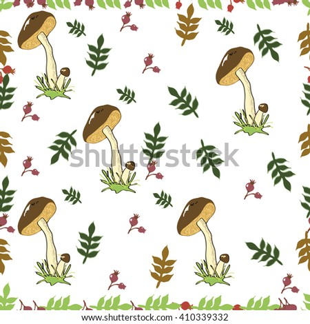 Pattern mushroom. Vector seamless pattern with mushrooms and green branches with leaves, hand drawn vector design elements - stock vector
