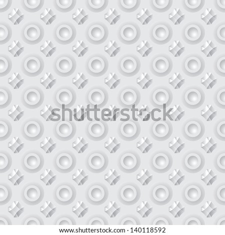 Pattern of abstract geometric buttons - vector seamless gray background - stock vector
