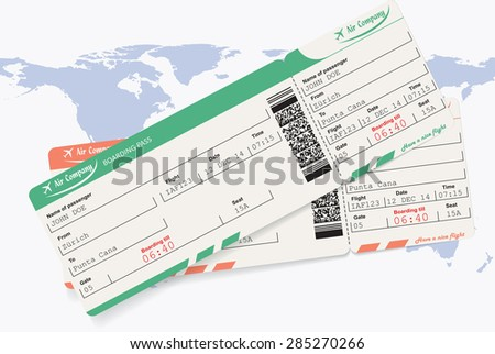 Pattern of airline boarding pass ticket with QR2 code. Map of world as background. Vector illustration