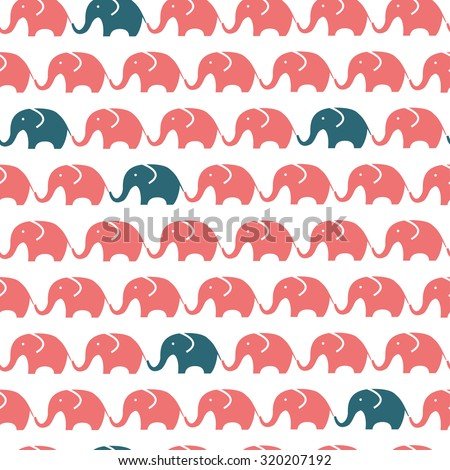 Pattern of blue and red elephants. Background with elephants. Children's pattern. Background of cute elephants. - stock vector