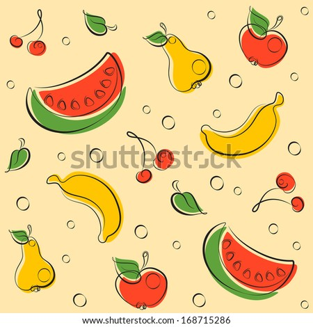 Pattern of cheerful fruits drawn by lines in retro colors - stock vector