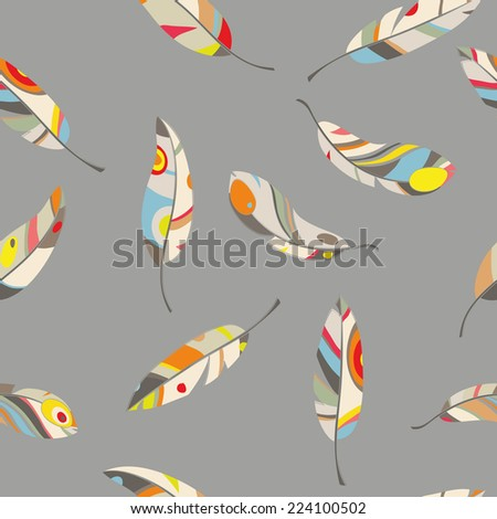 pattern of colored feathers on gray background, vector illustration - stock vector