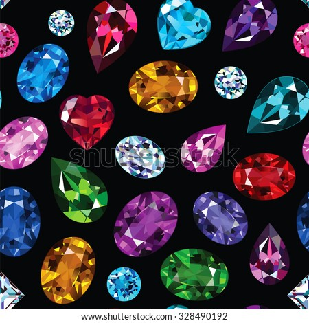 Pattern of colored gemstones on black background.