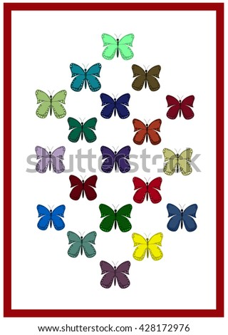 Pattern of colorful butterflies