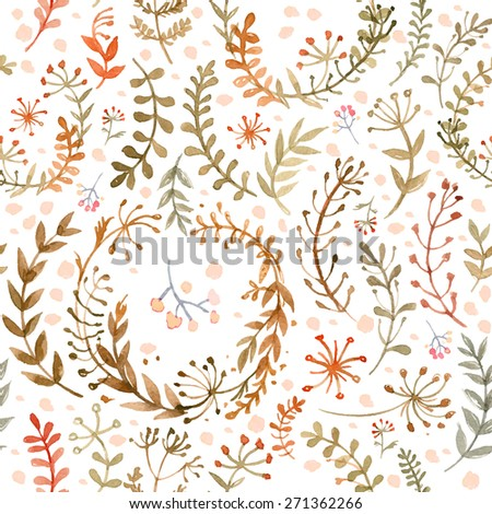 Pattern of flowers and grasses painted with watercolors on white background. Green leaves and flowers on a white background. Vector