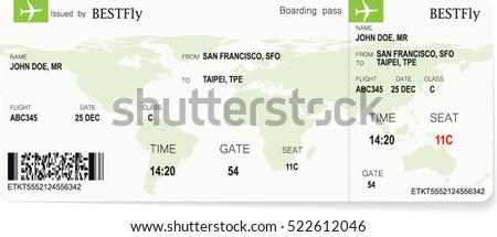 Pattern of green airline boarding pass ticket. Concept of travel, journey or business. Isolated on white. Vector illustration