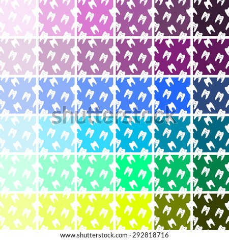 Pattern of Healthy teeth symbols.. Set Seamless patterns and textures. - stock vector