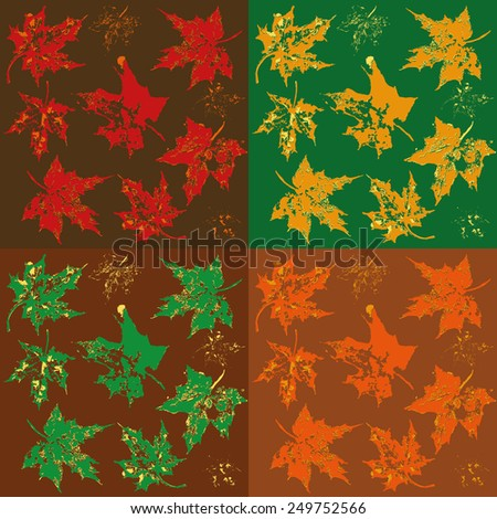 pattern of Maple tree leafs for all seasons - stock vector