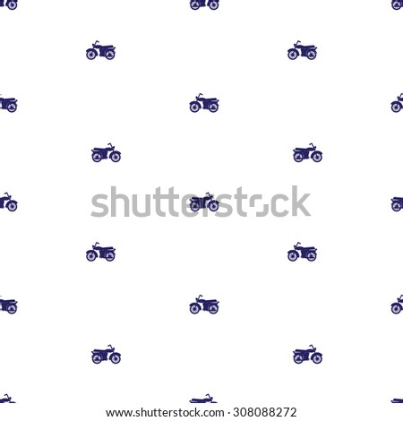 pattern of motorcycles. Seamless pattern with silhouettes of motorcycles located offset. Motorcycles dark blue, in the direction of the left and right. Background white. - stock vector