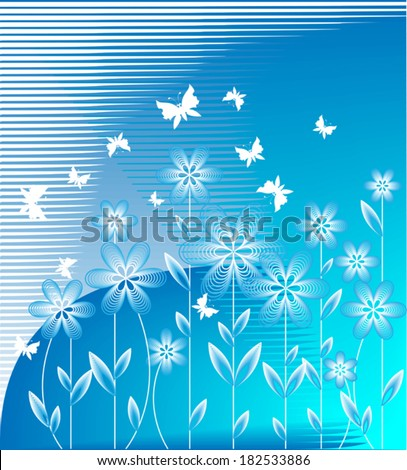 Pattern of stylized wild flowers on a blue background - stock vector