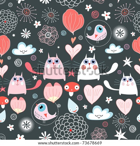 pattern of the cats and hearts - stock vector