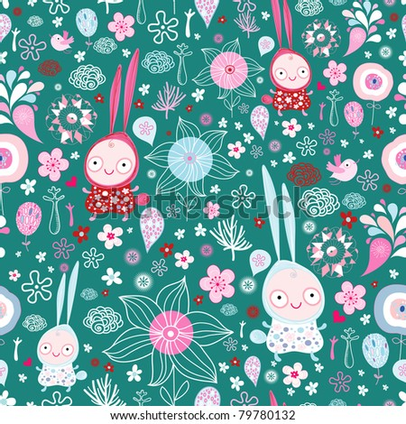 pattern of the fun of bunnies and flowers - stock vector