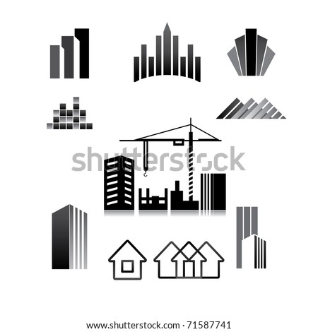 pattern of the sign - construction, property, real estate, building - stock vector