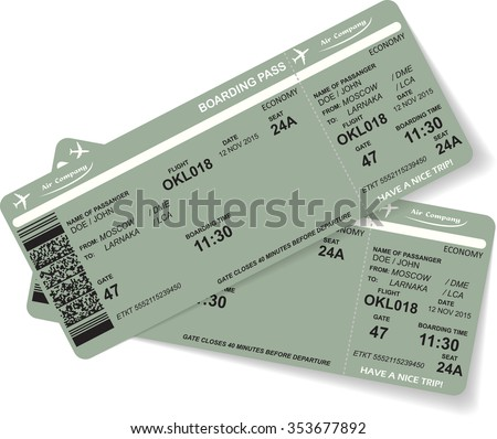 Pattern of two airline boarding pass ticket with QR2 code. Concept of travel, journey or business. Isolated on white. Vector illustration