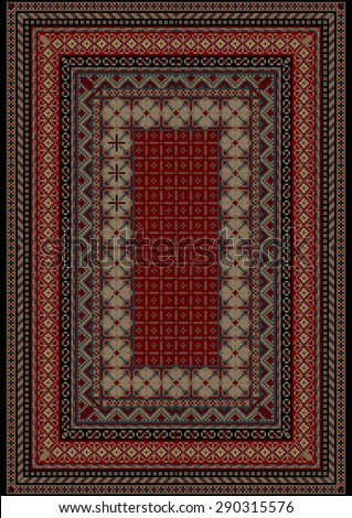 Pattern old carpet with motley ornament on the border and burgundy mid  - stock vector