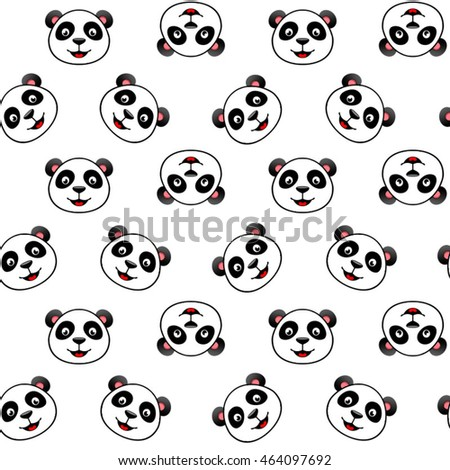 Pattern. Panda. Icons. Vector illustration. White background. Seamless texture.