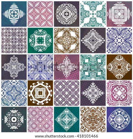 Pattern seamless background, patchwork colorful tiles. Vector, EPS10. - stock vector