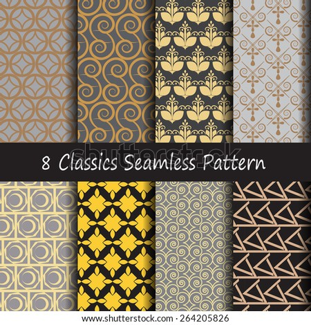 Pattern seamless classics retro style with gold pattern