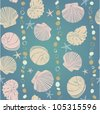 Pattern seashells and stones on dark aquamarine background - stock photo
