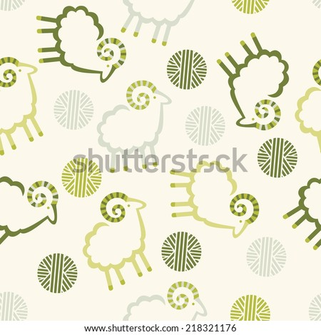 pattern sheep wool balls decorative light background  - stock vector