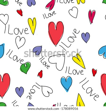 pattern valentines day colorful heart  - stock vector