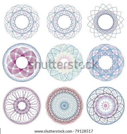 pattern vector elements for currency, certificate or diplomas. - stock vector