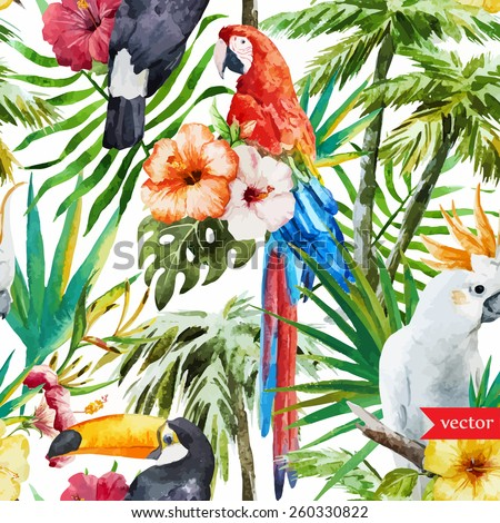 pattern, watercolor, flowers, tropical, jungle, toucan, macaw, parrot, magnolias, palms - stock vector