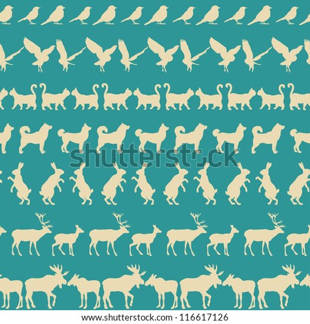 Pattern with animals. - stock vector
