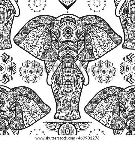 Pattern With Baby Elephant Made In Vector Color Illustration