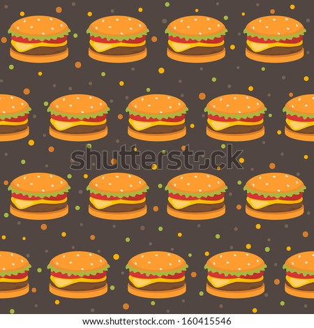 Pattern with burger - stock vector