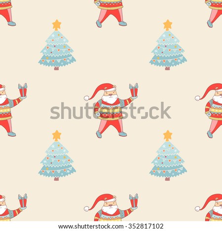 Pattern with cartoon Christmas tree and winter santa bear in hat with gift box. Pattern for the New Year. Vector background - stock vector