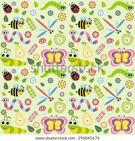 Pattern with cartoon insects - stock vector