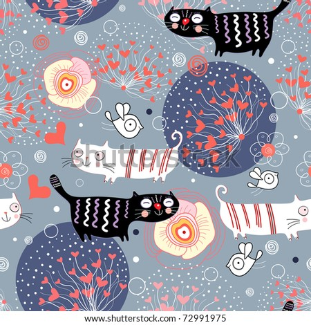 pattern with cats and hearts - stock vector