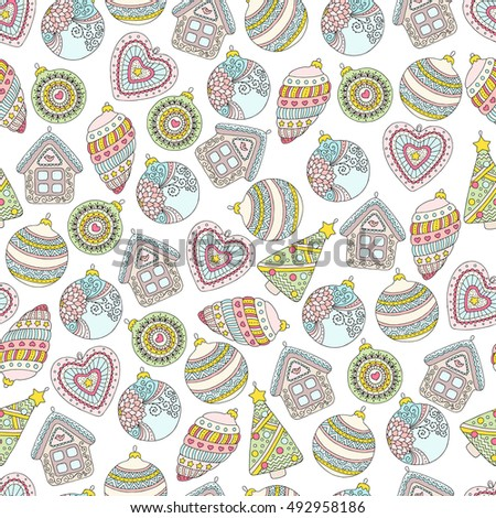 Pattern with Christmas decorations can be used for greeting cards, party invitations, gift package, web design, textiles. Background for advertising and announcements. Set of colored festive elements