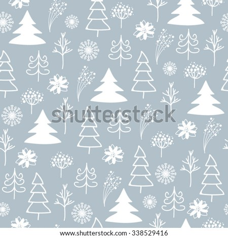 pattern with Christmas tree and snowflakes. - stock vector