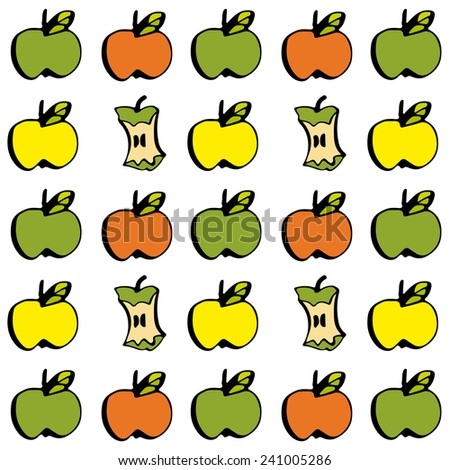 Pattern with colored apples. - stock vector