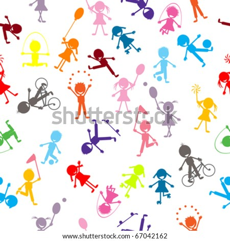 Pattern with colored stylized kids